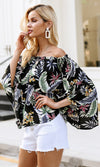 Carefree Attitude Long Bell Sleeve Floral Pattern Off The Shoulder Blouse Top - 2 Colors Available