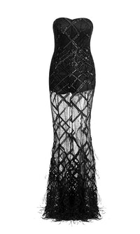 Turn Back Time Black Sheer Mesh Diamond Geometric Pattern Sequin Feather Strapless Maxi Dress - Sold Out