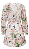 City Of Stars White Pink Floral Pattern Long Sleeve V Neck Ruffle Flare A Line Casual Mini Dress