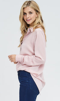 Day In Day Out Pink Washed Satin Long Sleeve Button Front Blouse Top - Sold Out