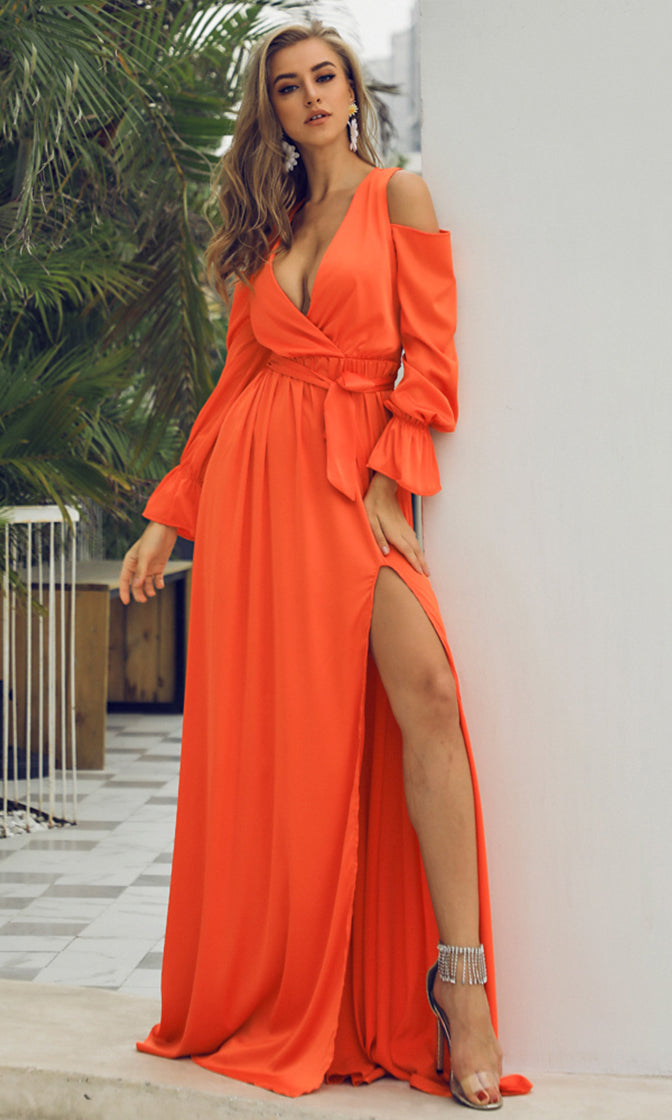 Sending My Love Orange Long Sleeve Cold Shoulder Cross Wrap V Neck Side Slit Maxi Dress