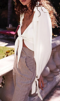 On A High White Bow Ruffle Long Sleeve Tie Front V Back Crop Top Blouse - Sold Out