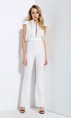 In The Hot Seat White Tassel Fringe Cap Sleeve Gold Piping Cut Out Jumpsuit