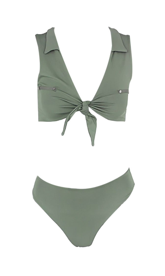 On The Beach Sleeveless Tie Knot Plunge V Neck Crop Top High Cut Two Piece Bikini Swimsuit - 4 Colors Available