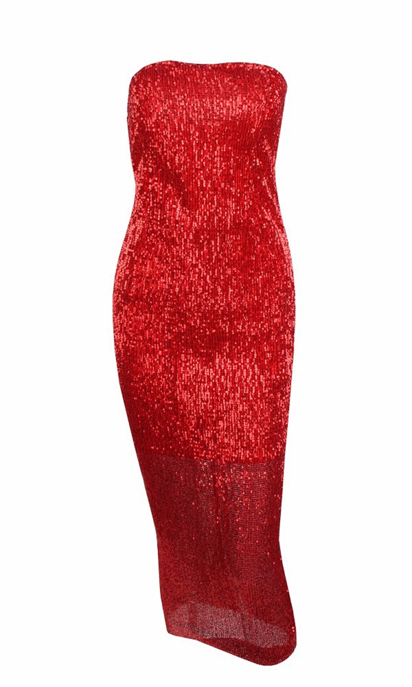 Envy This Red Sequin Strapless Tube Midi Dress