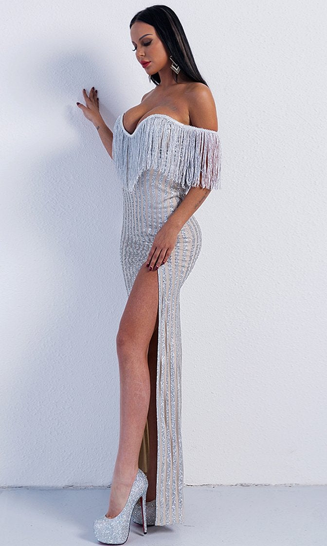 Glamorous Romance Silver Stripe Fringe Tassel Glitter Off The Shoulder V Neck High Slit Maxi Dress
