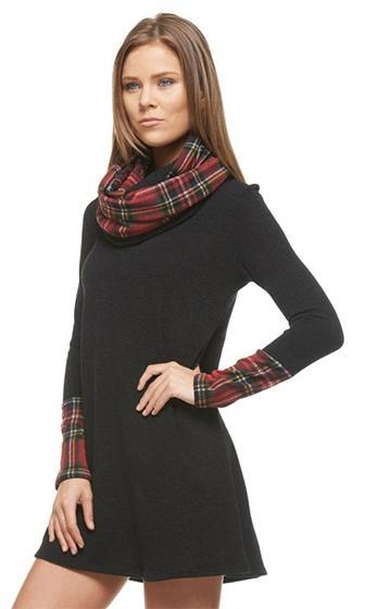 Private Chalet Black Red Tartan Plaid Long Sleeve Cowl Neck A Line Flare Tunic Mini Dress - Sold Out