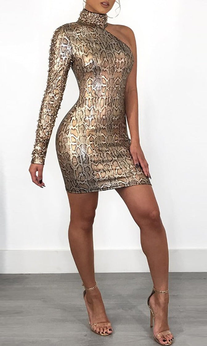 Total Recall Gold Snake Print Animal Pattern One Shoulder Long Sleeve Beaded Mock Neck Bodycon Mini Dress