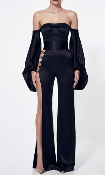 So Dramatic Black Long Bell Sleeve Off The Shoulder Cut Out Side Slit Jumpsuit
