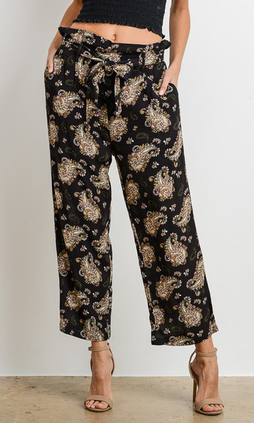 Echo Park Black Paisley Pattern Paperbag Tie Waist Wide Leg Loose Pants