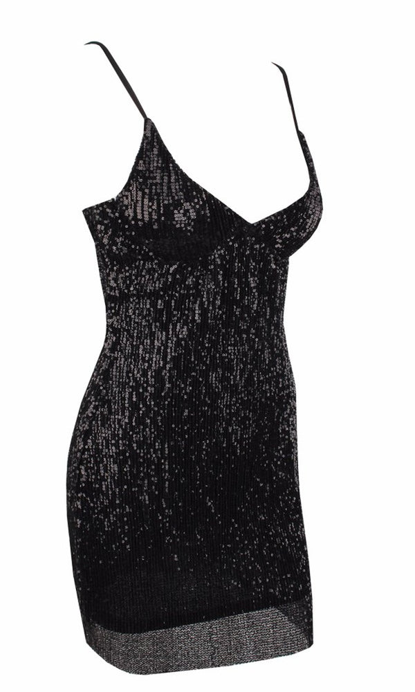 Drawn To You Black Sequin Sleeveless Spaghetti Strap V Neck Bodycon Mini Dress