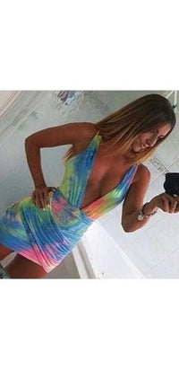 Peace and Love Blue Yellow Pink Tie Dye Sleeveless Plunge V Neck Halter Backless Ruched Tulip Bodycon Mini Dress