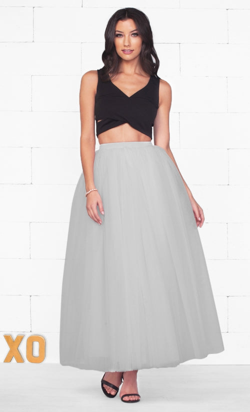 Indie XO Do A Twirl 7 Layer Grey Pleated Elastic Waist Swiss Tulle Ball Gown Maxi Skirt - Just Ours!