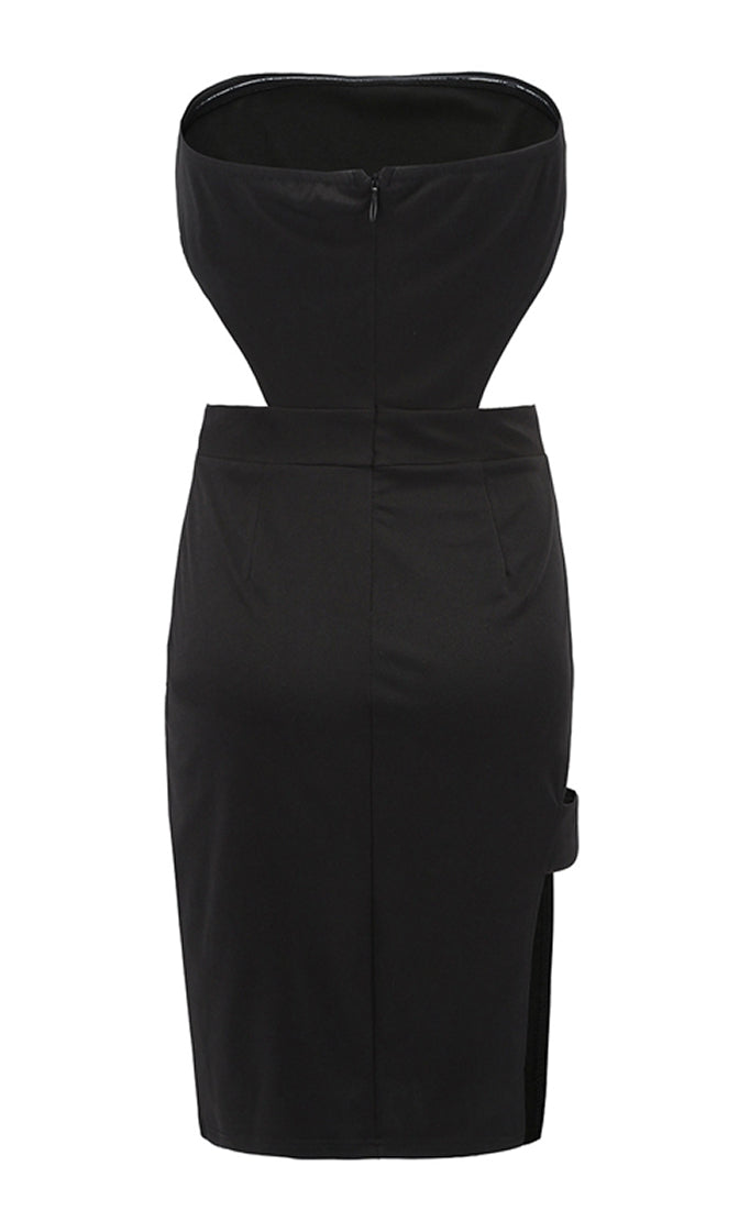 Double Vision Black Strapless Cut Out Side Thigh Strap Bodycon Midi Dress