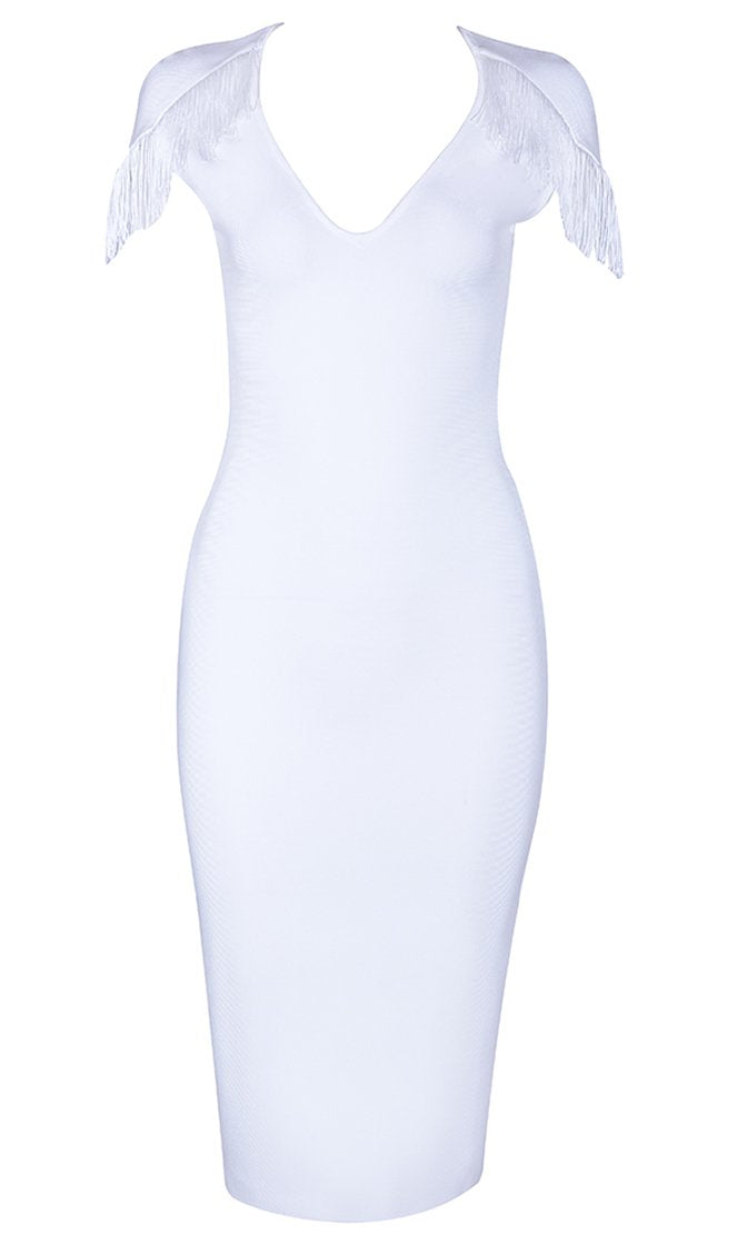 Free To Dream White Fringe Tassel Short Sleeve Plunge V Neck Bodycon Bandage Midi Dress