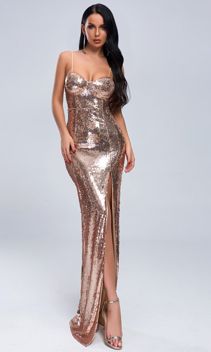 You're A Star Rose Gold Sequin Sleeveless Spaghetti Strap V Neck High Slit Bodycon Maxi Dress