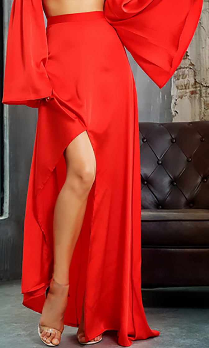 Splitting Time Red High Waist Front Slit A Line Maxi Skirt