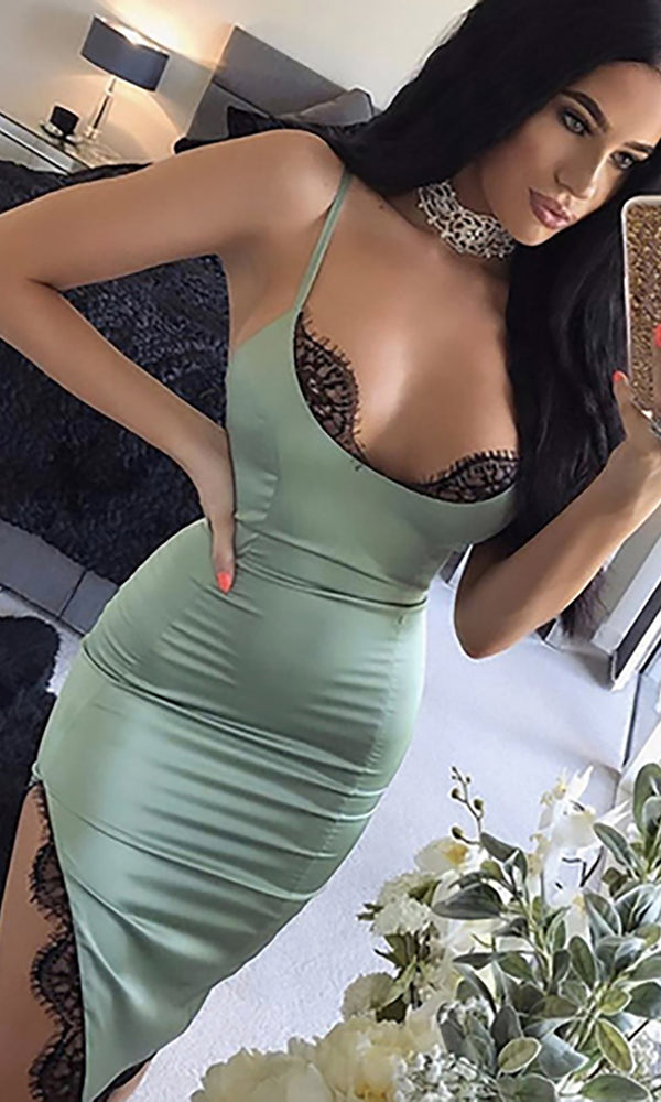 Slip Away Green Satin Sleeveless Spaghetti Strap Lace Trim Scoop Neck Asymmetric Side Slit Bodycon Midi Dress