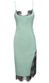 Slip Away Green Satin Sleeveless Spaghetti Strap Lace Trim Scoop Neck Asymmetric Side Slit Bodycon Midi Dress - Sold Out