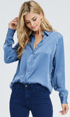 Day In Day Out Blue Washed Satin Long Sleeve Button Front Blouse Top