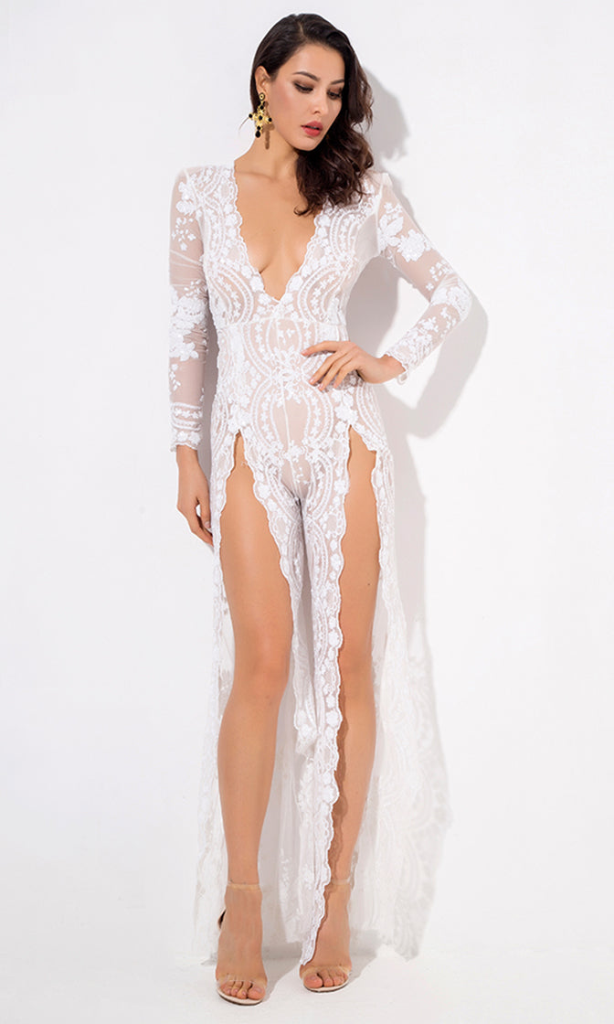 Come Closer White Sequin Floral Pattern Sheer Mesh Long Sleeve Plunge V Neck Wide Leg Loose Double Slit Jumpsuit