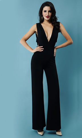 Friday Night Fantasy Black One Shoulder Ruffle Cut Out Flare Leg Jumpsuit