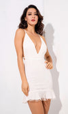 Light A Fire White Glitter Geometric Pattern Sleeveless Spaghetti Strap Plunge V Neck Backless Ruffle Bodycon Mini Dress