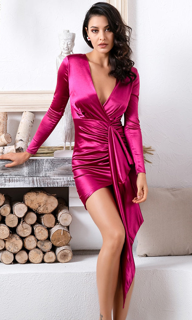 Higher And Higher Fuchsia Pink Satin Long Sleeve Cross Wrap V Neck Sash Bodycon Mini Dress