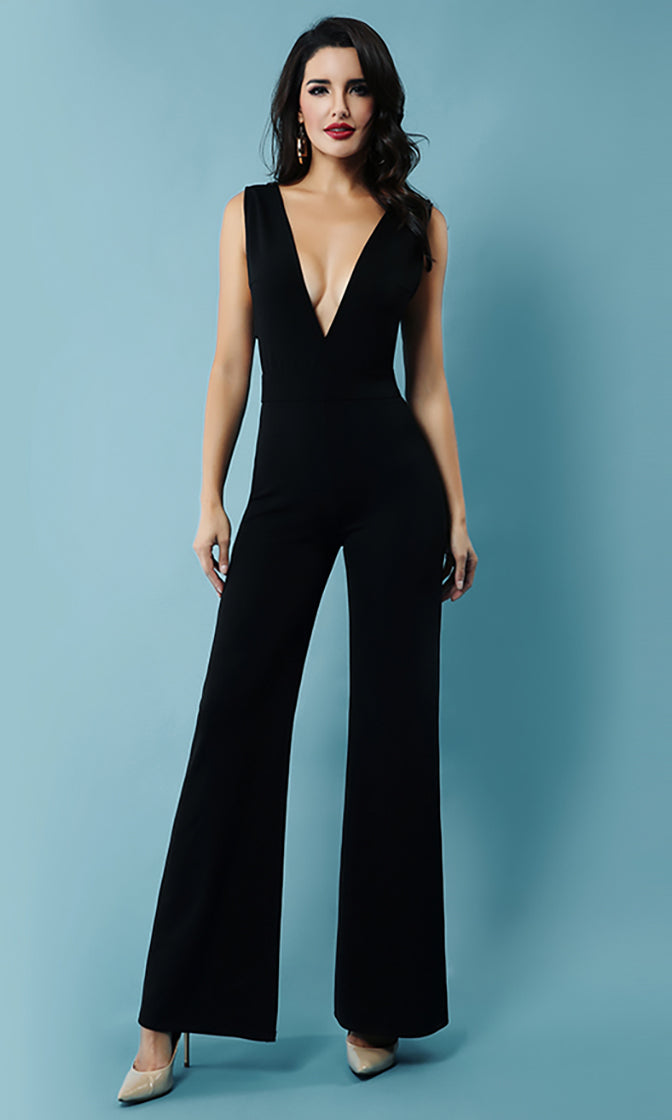 Talk Less Black Sleeveless Plunge V Neck Cut Out Sides Wide Leg Bodycon Bandage Jumpsuit