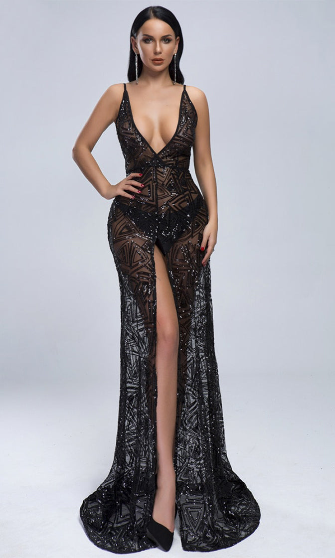 Some Enchanted Evening Black Sheer Mesh Sequin Geometric Pattern Sleeveless Spaghetti Strap Plunge V Neck Front Slit Maxi Dress
