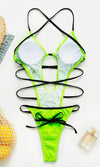 Would I Ever Neon Green Sleeveless Plunge V Neck Crisscross Strap High Cut Backless Thong Monokini One Piece Swimsuit - 2 Colors Available