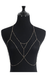 Outside The Box Metal Crisscross Chain Wrap Body Jewelry Necklace - 2 Colors Available - Sold Out