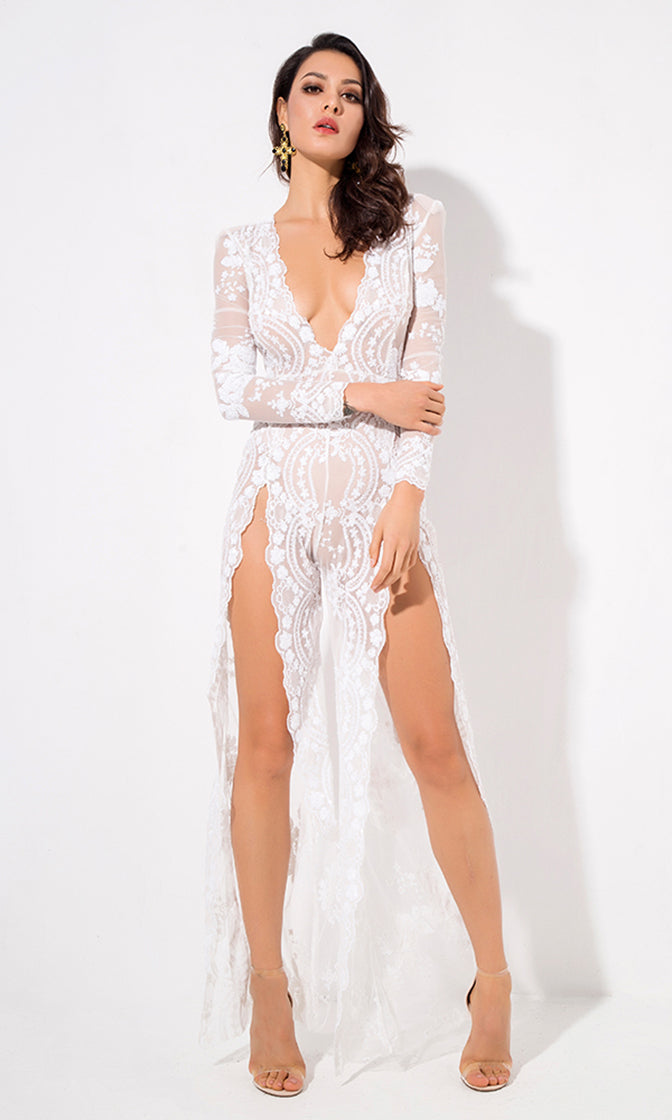 Ready to Conquer White Sequin Floral Pattern Sheer Mesh Long Sleeve Plunge V Neck Wide Leg Loose Double Slit Jumpsuit