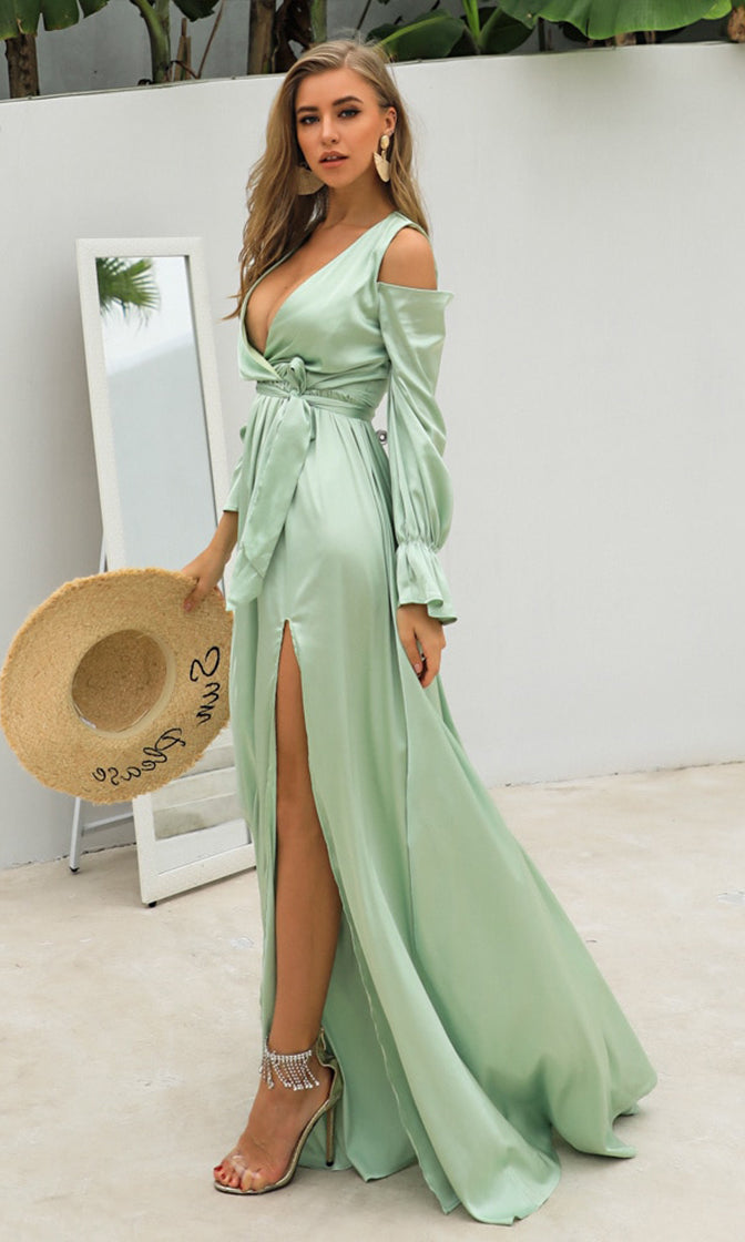 Sending My Love Light Green Long Sleeve Cold Shoulder Cross Wrap V Neck Side Slit Maxi Dress