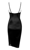 Cause A Scene Black Satin Sheer Mesh Lace Sleeveless Spaghetti Strap V Neck Cut Out Bodycon Midi Dress