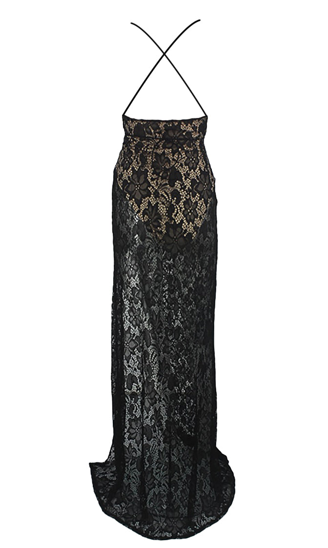 Waiting For Tonight Black Lace Sleeveless Spaghetti Strap Plunge V Neck Side Slit Maxi Dress