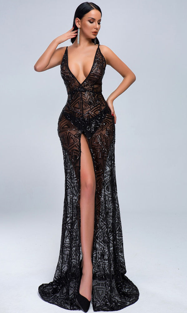 613cd0690db Some Enchanted Evening Black Sheer Mesh Sequin Geometric Pattern Sleeveless Spaghetti  Strap Plunge V Neck Front