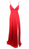 Ruby Splendor Red Satin Sleeveless Spaghetti Strap V Neck Double Slit Maxi Dress