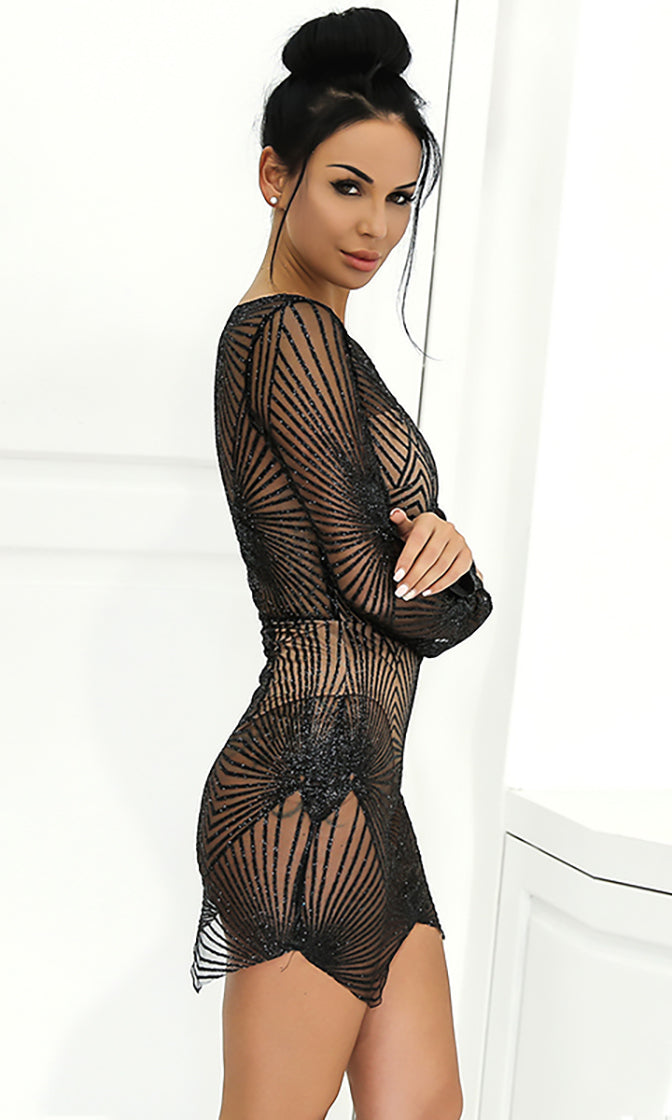 Nights Like This Sheer Mesh Glitter Geometric Pattern Long Sleeve V Neck Bodycon Mini Dress - 4 Colors Available