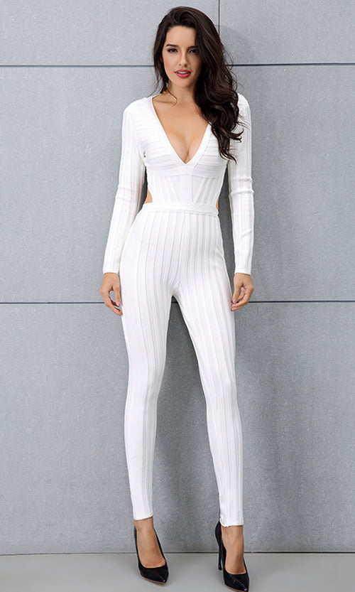 Crushing The Competition White Long Sleeve Plunge V Neck Backless Bandage Bodycon Jumpsuit