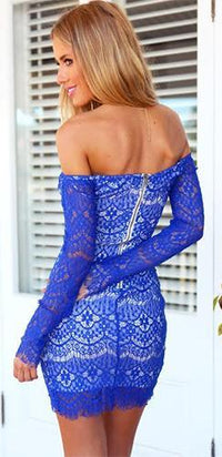 Tres Chic Royal Blue Lace Sweetheart Off The Shoulder Long Sleeve Ruched Gathered Wrap Tulip Fitted Mini Dress - Sold out