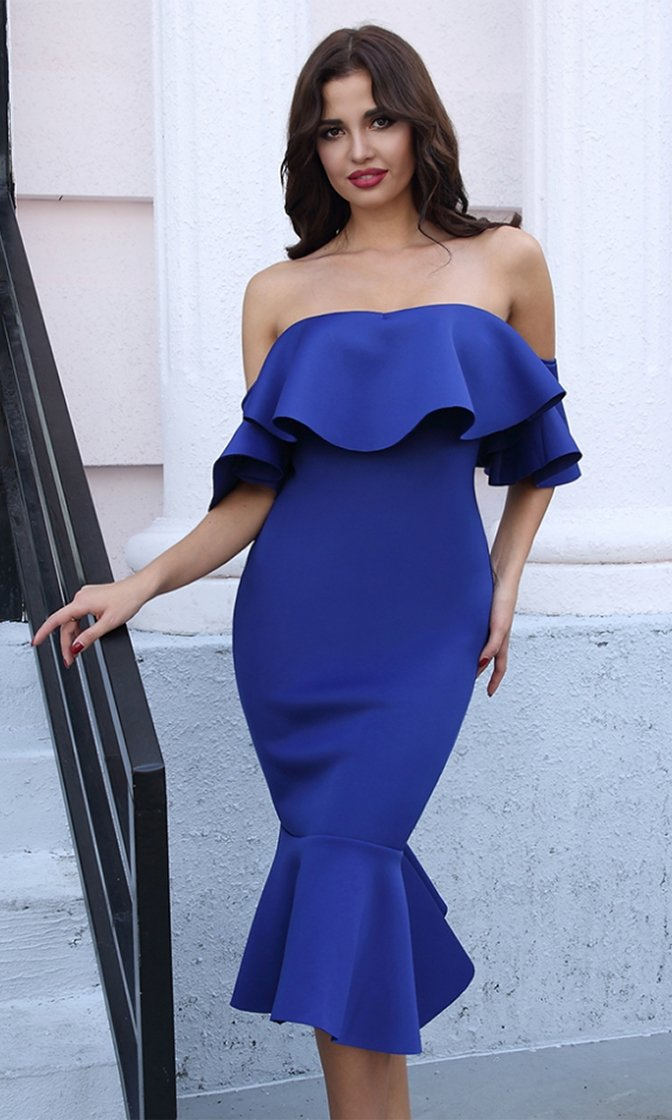 Boss Life Off The Shoulder Ruffle Flare Midi Dress - 4 Colors Available - Inspired by Amrezy