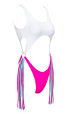 Point Of No Return Blue Purple Sleeveless Scoop Neck Cut Out Waist Tassel Fringe Brazilian One Piece Monokini Swimsuit