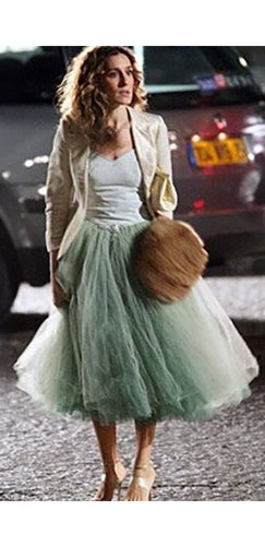 Carrie in Paris at Night Skirt - Sex in the City Inspired Dark Mint Green Layered Pleated Tulle Ball Gown Midi Skirt
