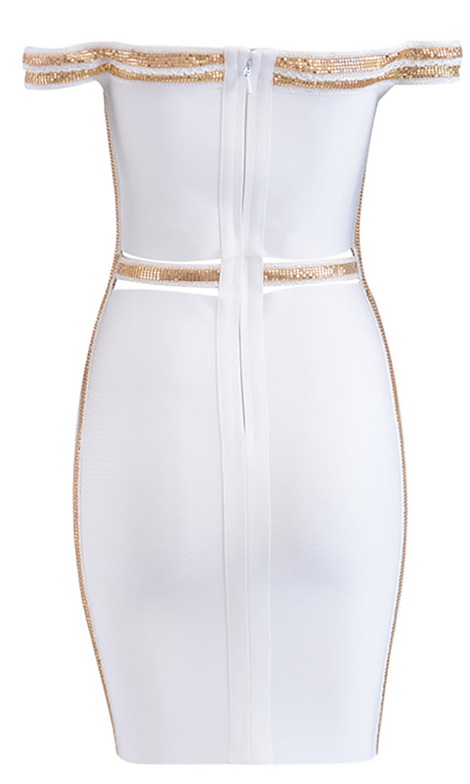 Lights Are Low White Gold Sequin Off The Shoulder Cut Out Waist Bodycon Bandage Midi Dress