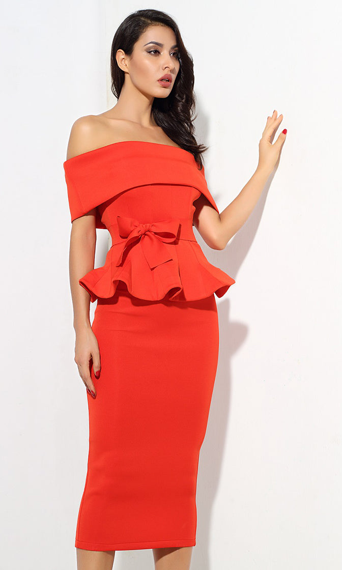Status Quo Red Off The Shoulder Bow Belt Ruffle Peplum Top Midi Skirt Two Piece Dress