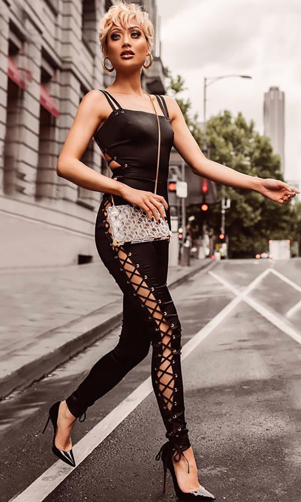 Full Of Attitude Black Sleeveless Spaghetti Strap Cut Out Lace Up Backless Bodycon Bandage Jumpsuit