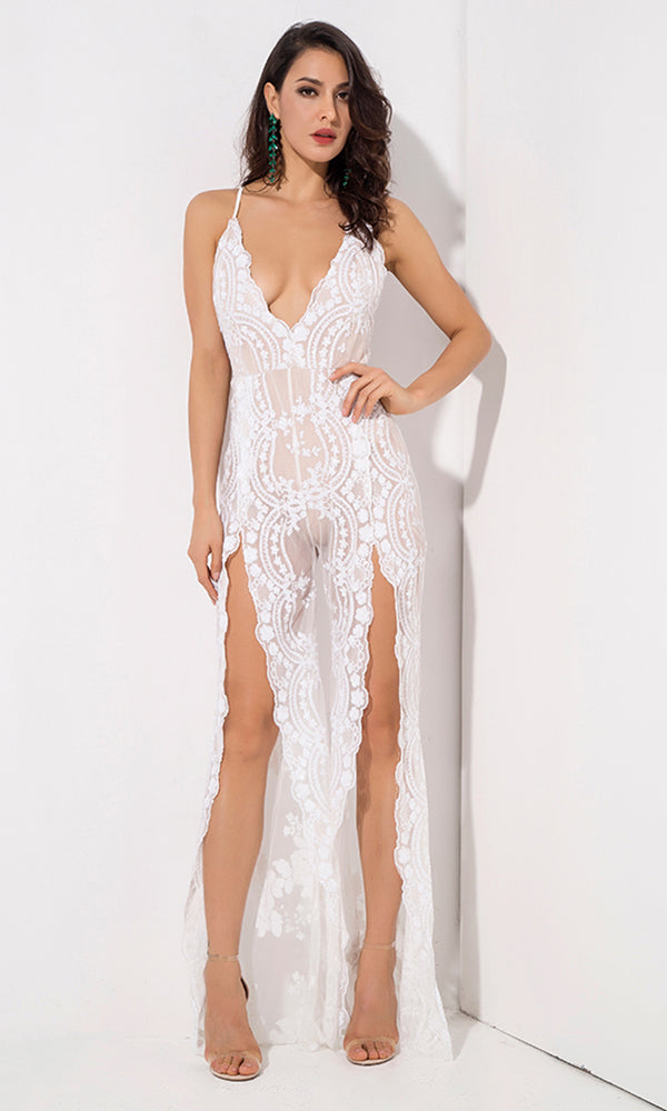 Take A Step Back White Sequin Floral Pattern Sheer Mesh Sleeveless Spaghetti Strap Plunge V Neck Backless Double Slit Wide Leg Loose Jumpsuit
