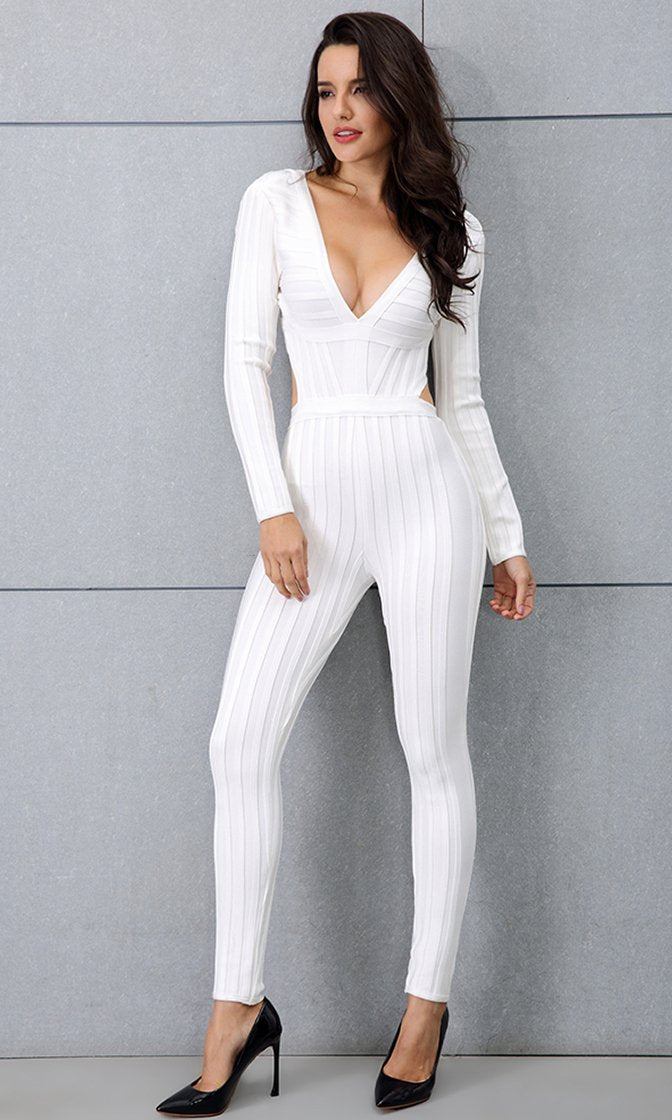 072b37fb2cd Crushing The Competition White Long Sleeve Plunge V Neck Backless Bandage Bodycon  Jumpsuit