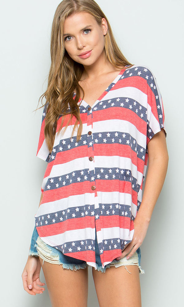 Fly It High White Red Blue Stripe Pattern American Flag Short Sleeve V Neck Button Front Top